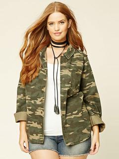 Women's Camo Jacket Plus Size Long Sleeve Women's Jacket Tops