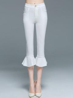 White Short Pants Women's Roman Knit Ruffles Skinny Flared Capri Pants