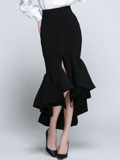 Black Mermaid Skirt Women's Ruffle Slit Slim Fit Bodycon Skirt