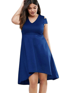 Plus Size Dresses Women's V Neck High Low Dark Navy Summer Fit And Flare Dress