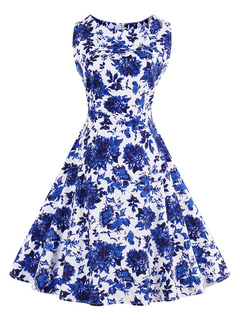 Blue Vintage Dresses Floral Print Sleeveless Women's Retro Fit And Flare Dress