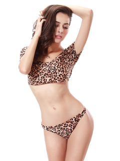 Leopard Beach Swimsuits Women's Summer Beach 2 Piece Bathing Suits