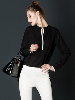 White Chiffon Blouse Women's V Neck Long Sleeve Slim Fit Casual Top