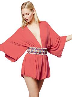 Women's Mini Dress Orange Red Plunging Neckline 3/4 Length Sleeve Pleated Short Dress