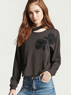 Short Embroidered Sweatshirt Flower Long Sleeve Pullover Women's Casual Choker Tops