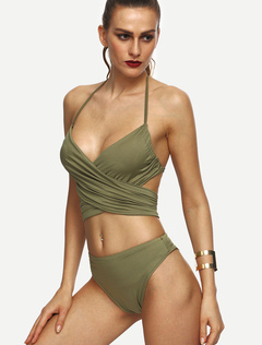 High Waisted Swimsuit Olive Green Halter Strappy Tie Ruched Cut Out Sexy Bikini Bathing Suit