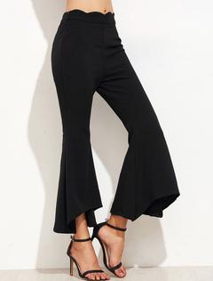 Black Cropped Pants Irregular Hem Flared Women's Shaping Wide Leg Pants