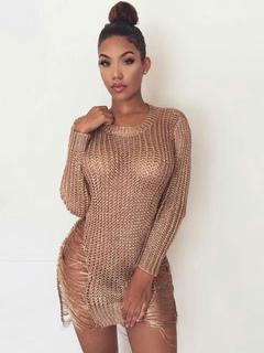 96589eba730 Sexy Knitted Dress Crochet Long Sleeve Cut Out Sheer Light Golden Short  Wrap Dress
