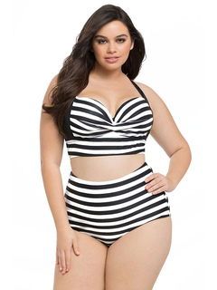 Plus Size Swimsuit White Striped Halter Women's Cross Back Beach Bathing Suits