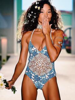 Blue Monokini Swimsuit Crochet Floral Print Halter Neckline Cut Out Backless Sexy One Piece Bathing Suit