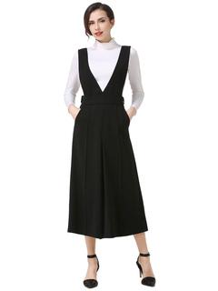 Black Overall Pants Women's Zipper Fly Cotton Wide Leg Pants