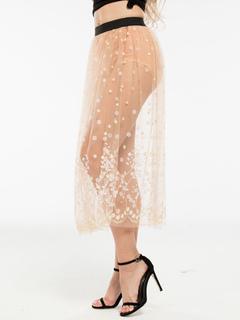 Tulle White Skirt Women's Semi-Sheer Floral Printed Long Skirt