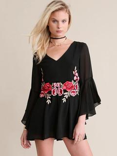 Black Romper Dress Flowers Embroidered V Neck Bell Sleeve Women's Short Jumpsuits
