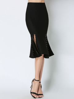Black Wrap Skirt Rivets Slit Roman Knit Women's Midi Shaping Mermaid Skirt