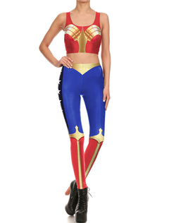 1960681bae0dfa Halloween Superman Catsuit Red U Neck Sleeveless Crop Top With Leggings For  Women Halloween