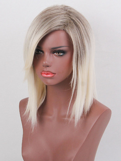 Human Hair Wigs Light Apricot Side Parting Straight Hair Wigs For Women