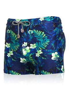 Hawaiian Board Shorts Men's Leaf Printed Summer Beach Swim Trunks