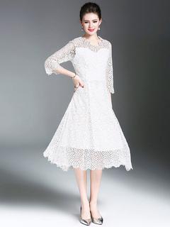White Lace Dress V Neck 3/4 Length Illusion Sleeve Pleated Midi Flare Dress