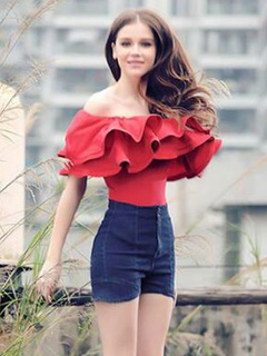 Women's Red Blouse Off The Shoulder Layered Ruffles Short Sleeve Chic Top
