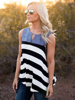 Blue Tank Top Women's Denim Patchwork Round Neck Cut Out Striped Casual Sleeveless Top