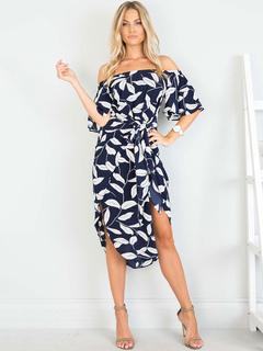 Blue Long Dress Off The Shoulder Half Sleeve Lace Up Printed Slit Summer Dress