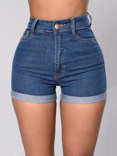 High Waisted Shorts Women's Blue Skinny Zipper Fly Denim Shorts