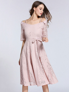 Pink Lace Dress Cold Shoulder Spaghetti Strap Half Sleeve Waist Tie Pleated Midi A Line Flare Dress