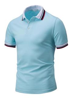 Cotton Polo Shirt Turndown Collar Short Sleeve Buttons Color Block Men's Regular Fit Top