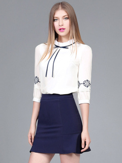 Women's White Blouse Ethnic Printed Shirred Collar 3/4 Length Sleeve Bowknot Chic Top