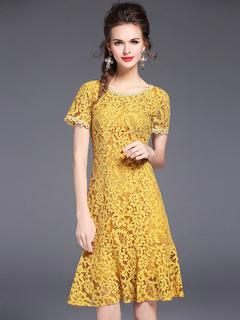 Yellow Lace Dress Round Neck Short Sleeve Jacquard Ruffles Women's Midi Dress