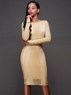Beige Bodycon Dress Round Neck Long Sleeve Slim Fit Sheath Dress For Women