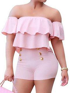 Women's Pink Romper Off The Shoulder Ruffle Short Sleeve Slim Fit Skinny Leg Playsuit