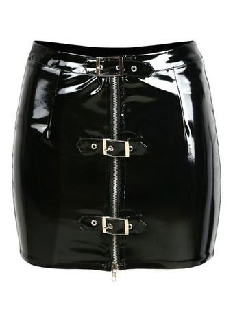 Black Club Skirt Metal Details PVC Shaping Women's Sexy Mini Skirt