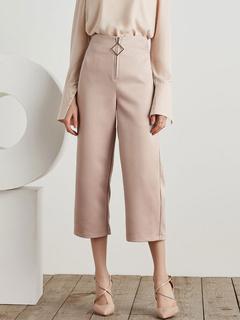 High Waist Pants Metal Detals Zipper Fly Women's Pink Cropped Wide Leg Pants