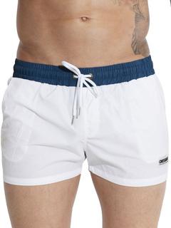 Nylon Swim Trunks Drawstring Color Block Men's Casual Beach Shorts