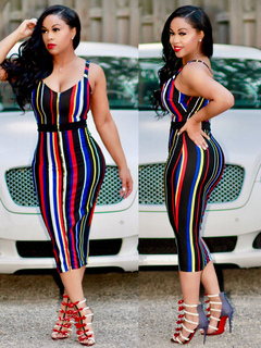 Women's Bodycon Dress Spaghetti Straps Sleeveless Striped Slim Fit Sheath Dress