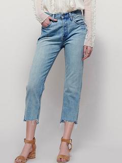 Blue Denim Jeans Distressed Women's Straight Leg Cropped Pants