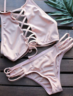 2 Pieces Swimsuit Spaghetti Straps Criss Cross Cut Out Low Rise Pink Sexy Bathing Suit
