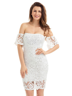White Lace Dress Off The Shoulder Illusion Half Sleeve Women's Sexy Summer Pencil Dresses
