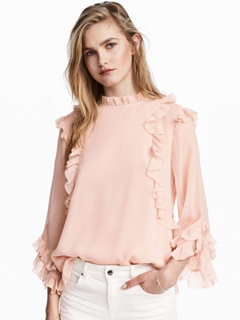 Women's Pink Blouse Stand Collar Long Sleeve Ruffle Casual Top