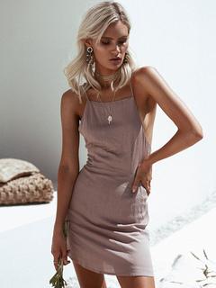 Women's Mini Dress Blush Pink Spaghetti Straps Sleeveless Backless Short Dress