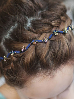 Blue Hair Band Women's Twisted Rhinestones Beaded Hair Accessories