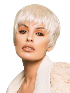 Human Hair Wigs Short Straight Women's Light Apricot Wigs With Blunt Bangs