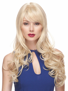 Human Hair Wig Women's Light Apricot Body Wave Long Curly Hair Wig