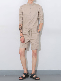 Men's Khaki Rompers Stand Collar Short Sleeve Waist Tie Casual Jumpsuit