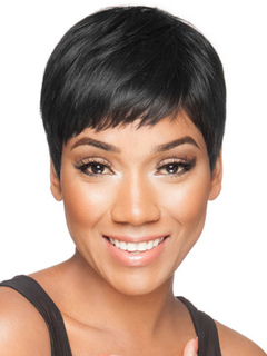 Human Hair Wigs Brownish Black Straight Women Short Hair Wigs