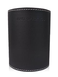 Black Brushes Barrel Leather Cylinder Two Partition Makeup Tool