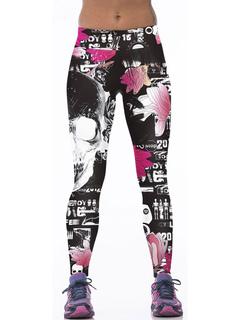 Black Skinny Leggings Women's Elastic Waist Printed Yoga Pants