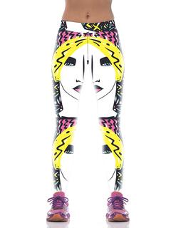 Women's Skinny Leggings Multicolor Elastic High Waist Printed Tight Pants