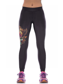 Black Skinny Leggings Women's Elastic Waist Printed Tight Sport Pants